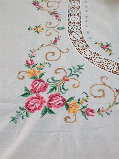 Shabby Table Cloth Pink Lace 2 vintage embroidered cross stitch tablecloth shabby chic