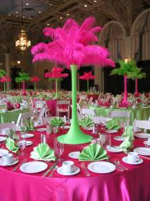 feather stand pink lime green decorating ideas
