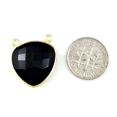 bezel gemstone connector pendant black onyx gold