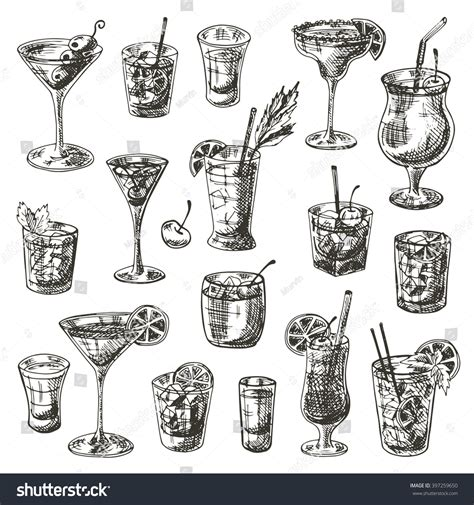 manhattan drink illustration coctails set hand drawn vector illustration stock vector
