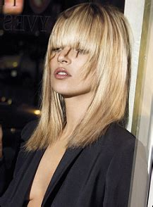 Kate Moss Cuts Bangs Em Or Em by Kate Moss With Layer Hairstyle