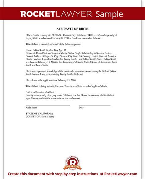 green card affidavit template affidavit of birth form birth certificate affidavit