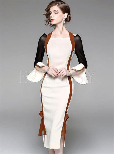 Sleeve Bodycon Dress stylish flare sleeve slash neck bodycon dress ezpopsy
