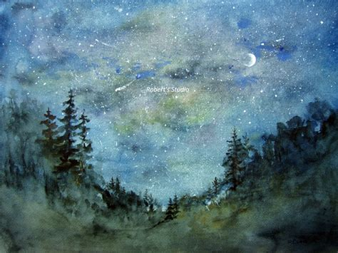 paint nite woodland print of original watercolor painting watercolor