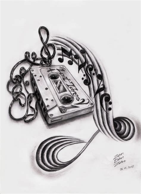 music tattoo sleeve design cassette design by zenbenzen on deviantart