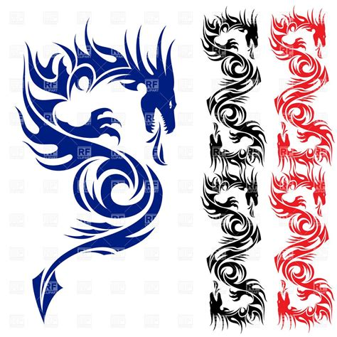 dragon tattoo vector illustration for asian pattern 7544 silhouettes outlines