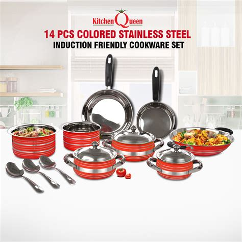 kitchenware online buy 14 pcs colored stainless steel induction friendly
