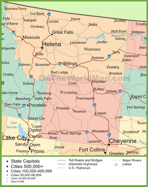 map of wyoming usa map of montana and wyoming