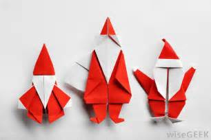 Origami santas might be used as a fun and inexpensive ornament