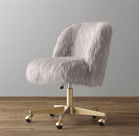 alessa grey kashmir faux fur desk chair antiqued brass