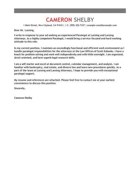 cover letter exles for paralegal best paralegal cover letter exles livecareer