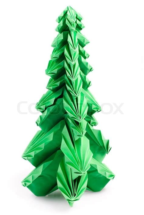 Origami Fir Tree - green origami fir tree or tree isolated on white