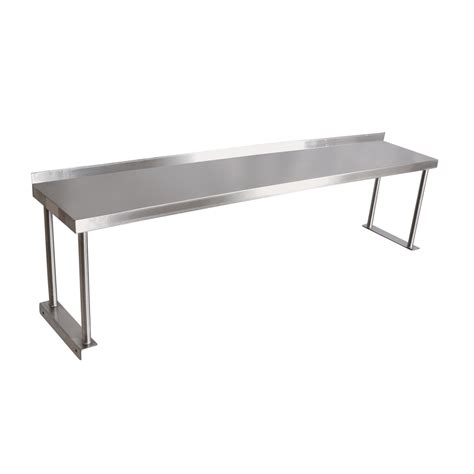 stainless steel single overshelf maple top work table
