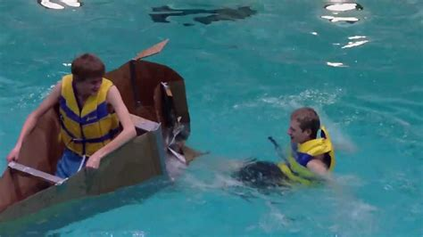 cardboard boat race fails cardboard boat race fail youtube