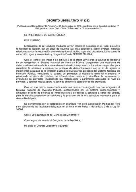 decreto legislativo n 1229 diario oficial el peruano decreto legislativo que crea el sistema nacional de