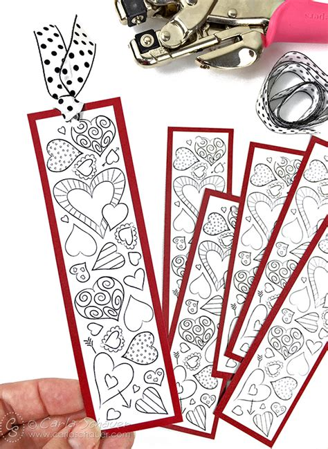 printable bookmarks valentine s day valentine heart bookmarks to print and color carla