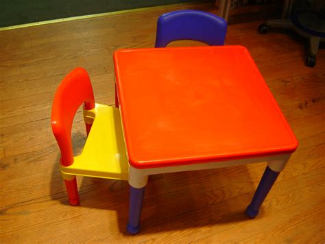 Lego Table And Chairs by Tot Tutors Yellow And Blue Lego Table With 2 Chairs Ebay