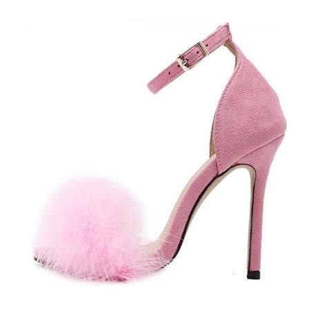 pink high heels sandals pink suede ankle faux fur high heel sandals