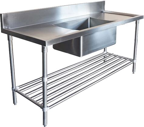 stainless steel bench with sink 2400x600mm commercial single middle bowl kitchen sink