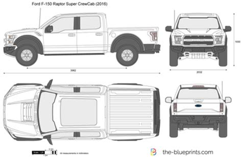 Ford F 150 Raptor Super Crewcab Vector Drawing Ford Raptor Template