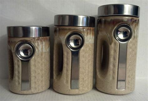 piece tan canister set modern kitchen  spoon