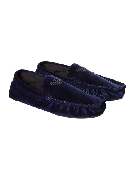 armani slippers armani logo shoe slippers in blue for navy lyst