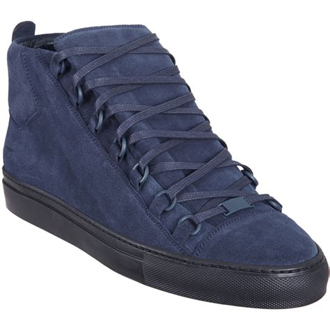 blue suede balenciaga sneakers balenciaga arena hightop sneaker in blue for navy lyst