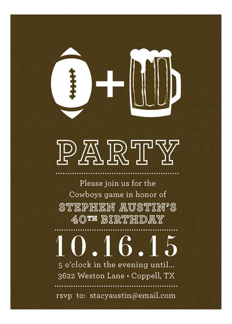 Football And Beer Invitation Personalized Football Party Invitations Football Themed Invitation Template