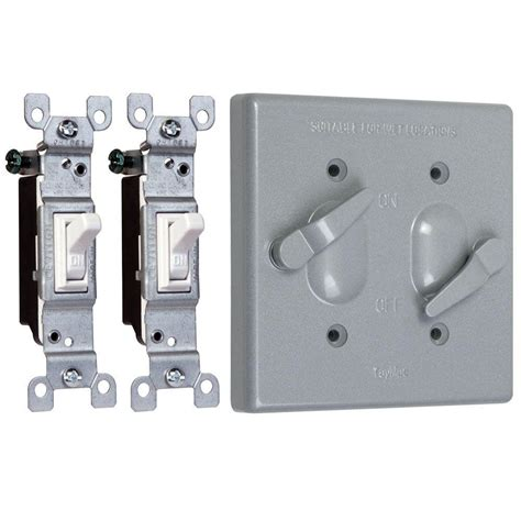 Taymac 2 Gang Weatherproof 2 Toggle Switch Cover Combo Outdoor Light Switch Cover