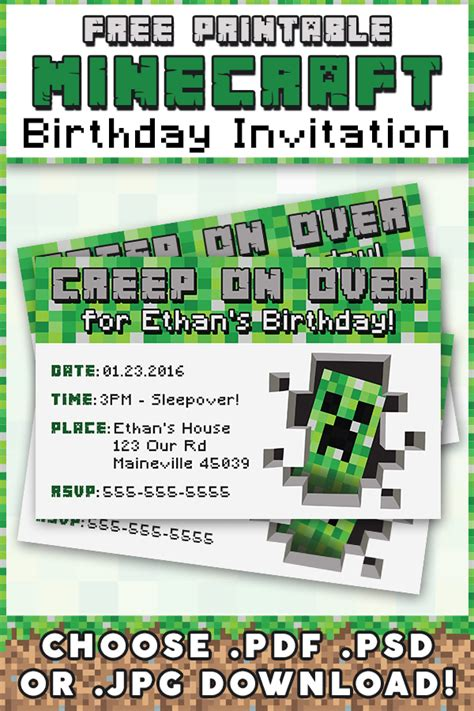 Eco Home Designs by Free Minecraft Printable Invitation