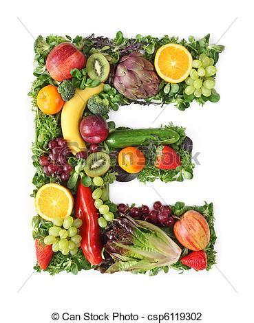 vegetables e photo de fruit l 233 gume alphabet lettre e csp6119302
