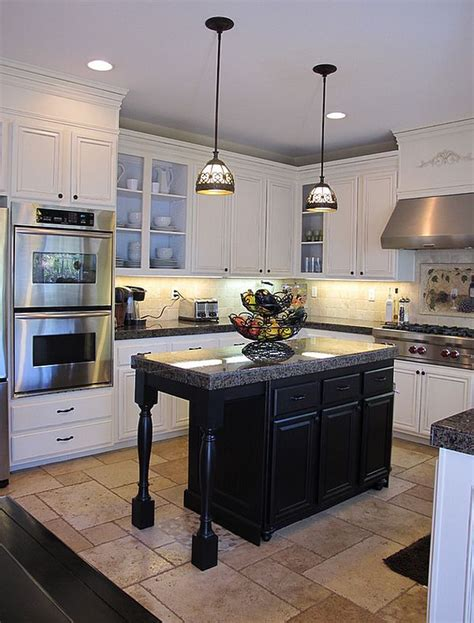 white kitchen dark island black and white kitchens ideas photos inspirations