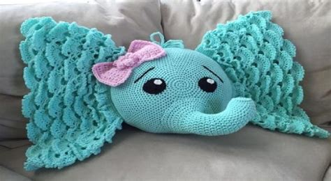 Elephant Rug Pillow Patterns Free by Elephant Pillow Pdf Crochet Pattern Baby Stuff