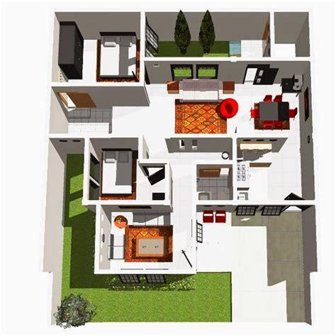 contoh denah rumah minimalis modern  elegan renovasi rumahnet