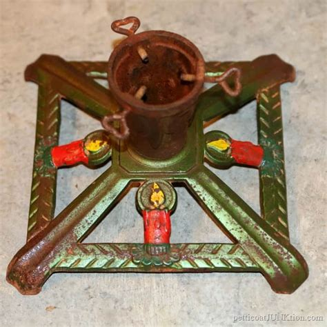 antique iron christmas tree stand vintage ornaments