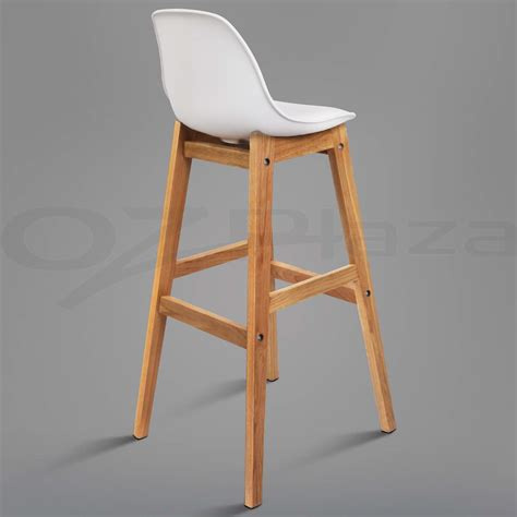 Padded Bar Chairs 4x Oak Wood Bar Stools Wooden Barstool Dining Chairs