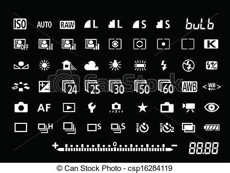vector camera settings symbols for professionalvector