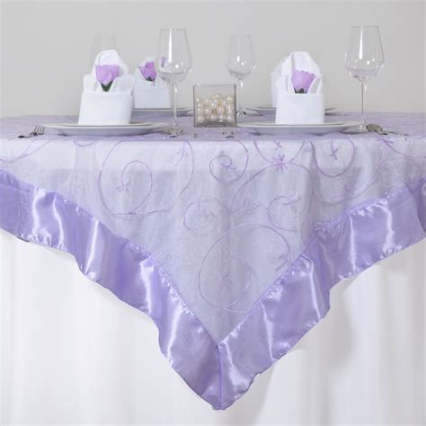 6 X Embroidered Organza 60x60 Quot Square Table Overlays Table Overlays For Wedding