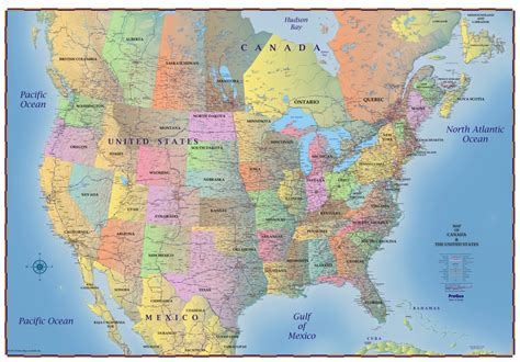 northern usa map trucker s wall map of canada united states and northern