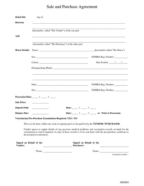 Sale And Purchase Agreement Template 10 best images of purchase and sale agreement form free