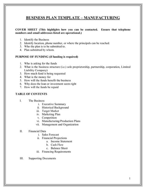production business plan template free business plan template manufacturing for pdf