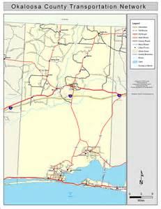 okaloosa county florida map okaloosa county road network color 2009