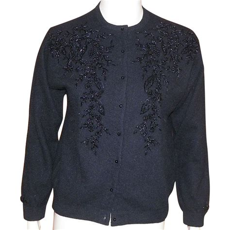 beaded cardigan vintage black beaded cardigan sweater hong kong 1960 s