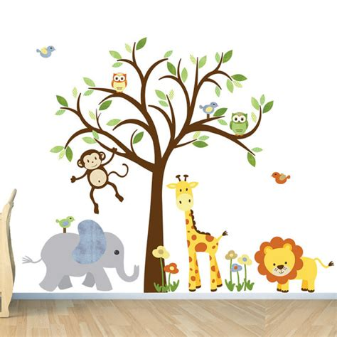 jungle nursery wall stickers room wall decal safari animal decal nursery wall decal