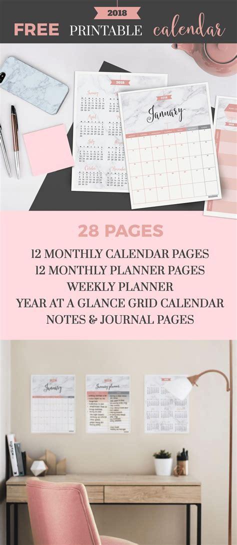 2018 year at a glance calendar printable letter a4 a5 half