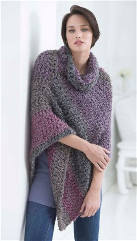 lionbrand pattern finder cozy cowl poncho allfreecrochet com