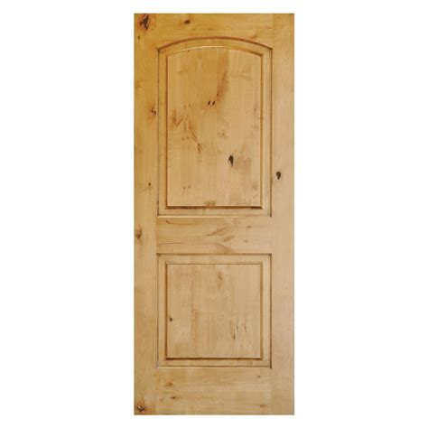 Solid Wood Doors Exterior Krosswood Doors Rustic Knotty Alder 2 Panel Top Rail Arch Solid Wood Stainable Left