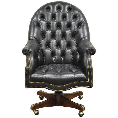 leather office desk chair vintage tufted black leather chesterfield