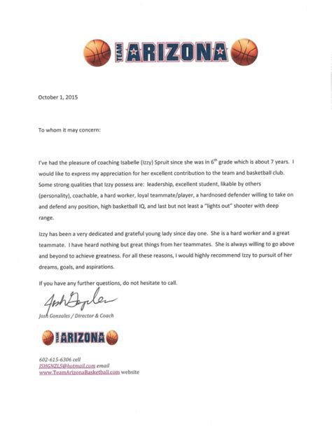 Reference Letter For Student From Coach References The Official Website Of Izzy Spruit