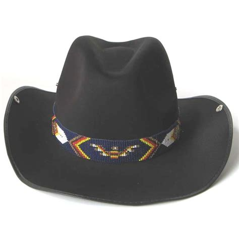 blue yellow white thunderbird beaded cowboy hat band